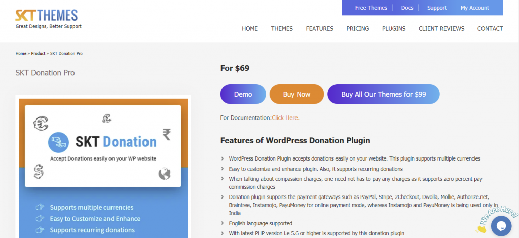 SKT Donation Plugin for WordPress has currency control