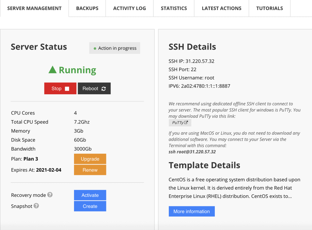 ssh details on hostinger user dashboard