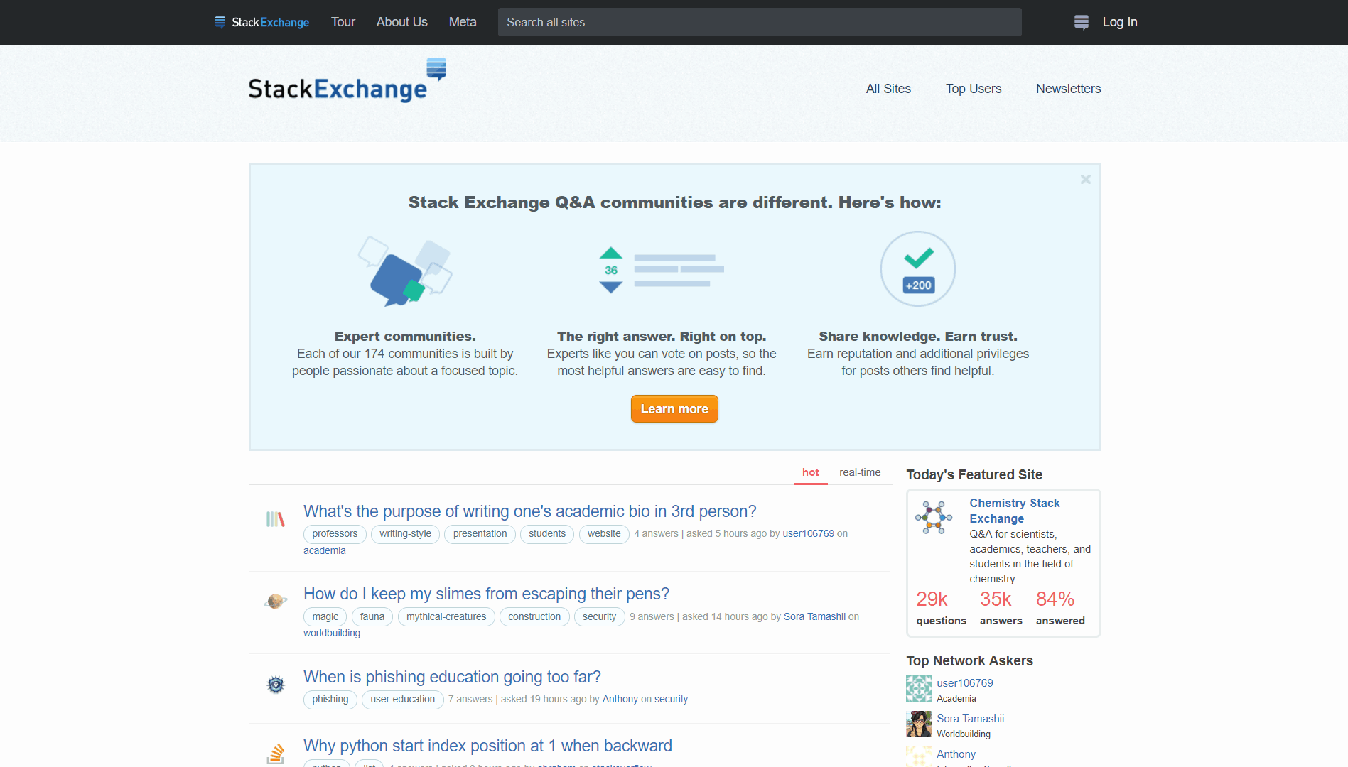 The homepage of Stack Exchange.