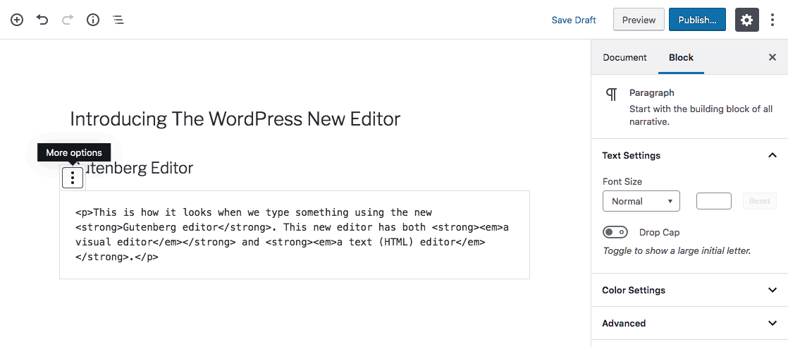 WordPress Text Editor of Gutenberg