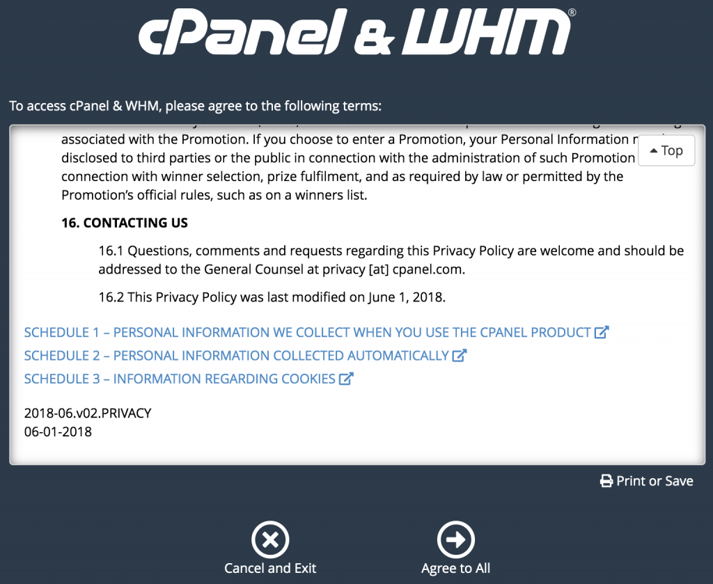 user agreement for whm/cpanel initial set up