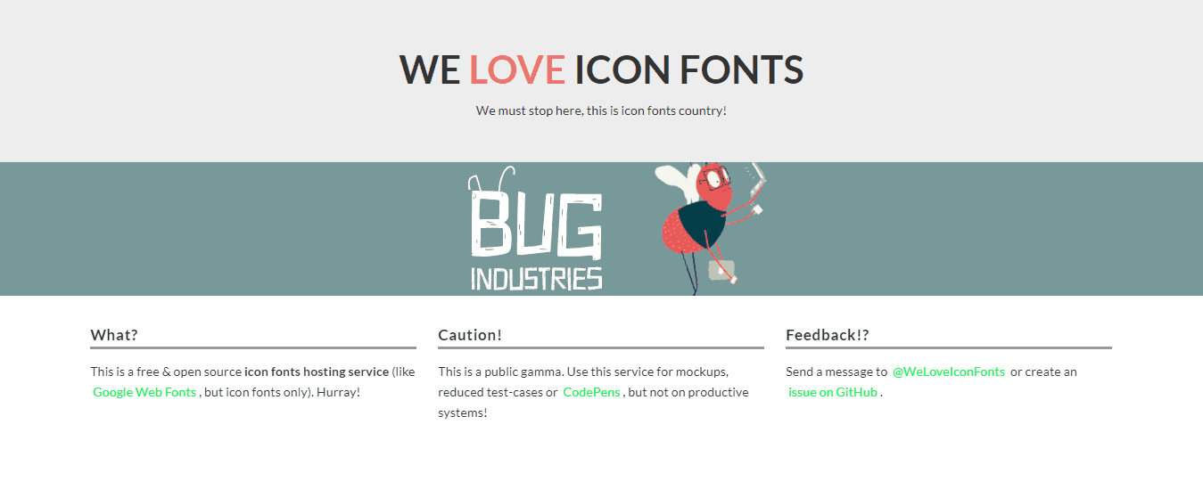 The landing page of We Love Icon Fonts landing page site