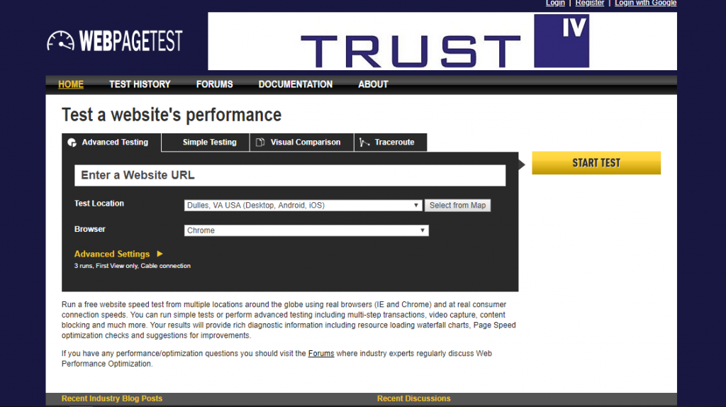 webpagetest speed test tool