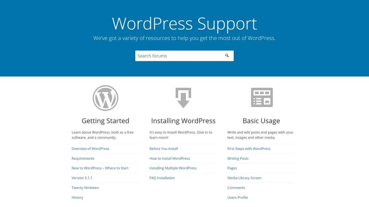 The homepage of WordPress support.