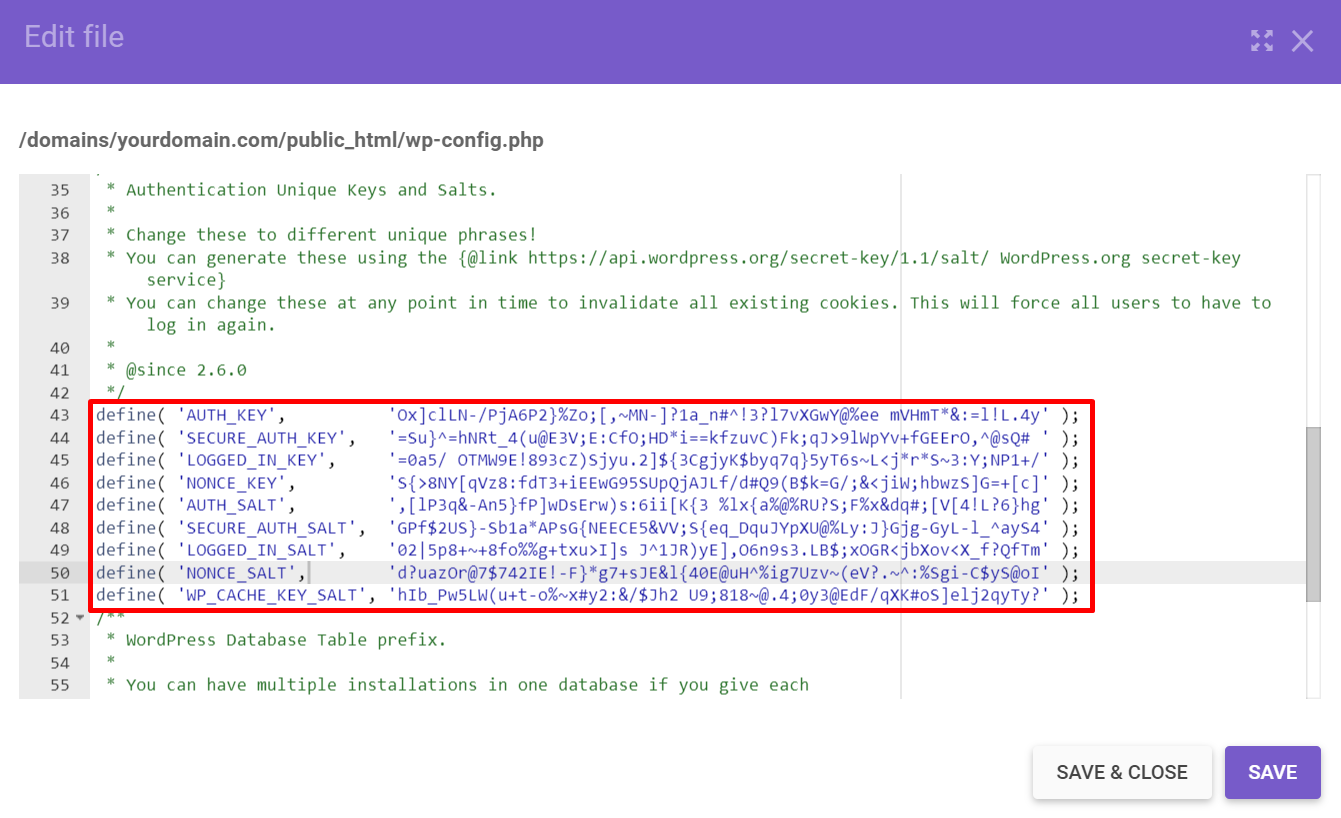 WP salts and secret keys example found in the wp-config.php file.