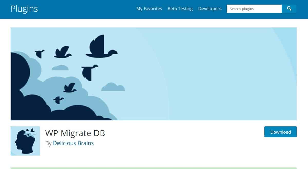 WP Migrate DB plugin's WordPress page