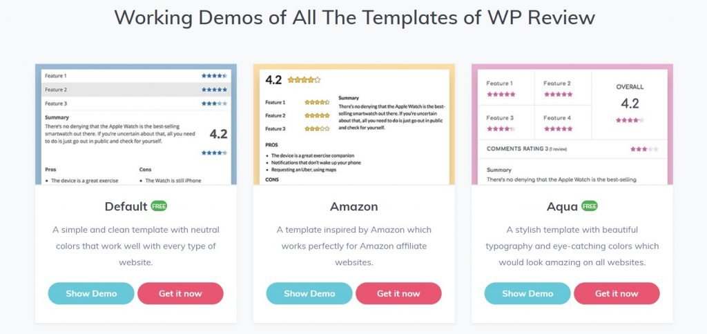WP Review Pro's design template