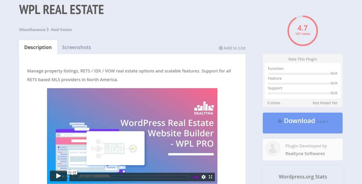 WPL Real Estate WordPress plugin's download page