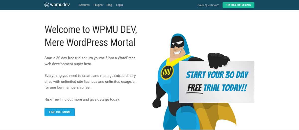 The homepage of WPMU DEV