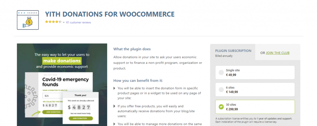 Yith Donations Plugin for WordPress offers multiple payment options