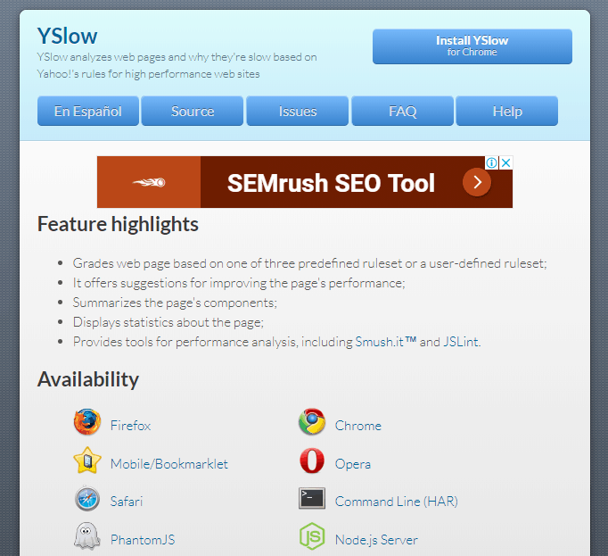 yslow speed test tool