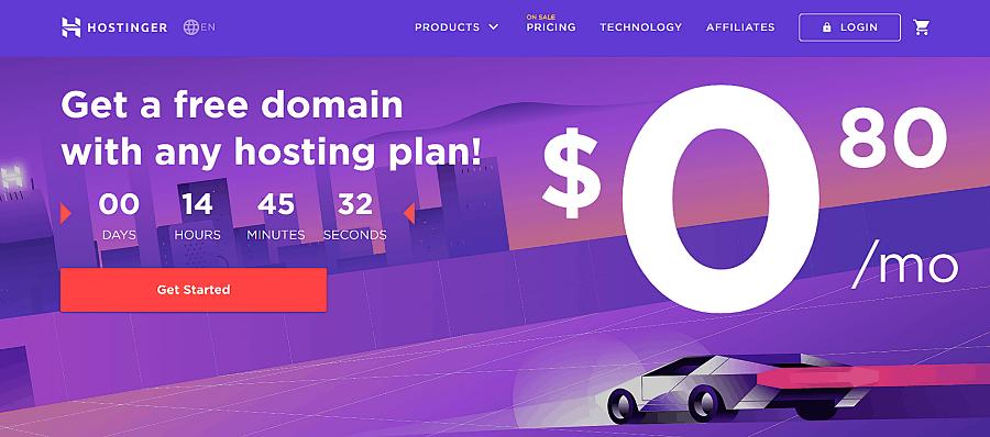 hostinger's landing page