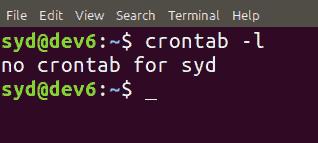 crontab -l result cron job