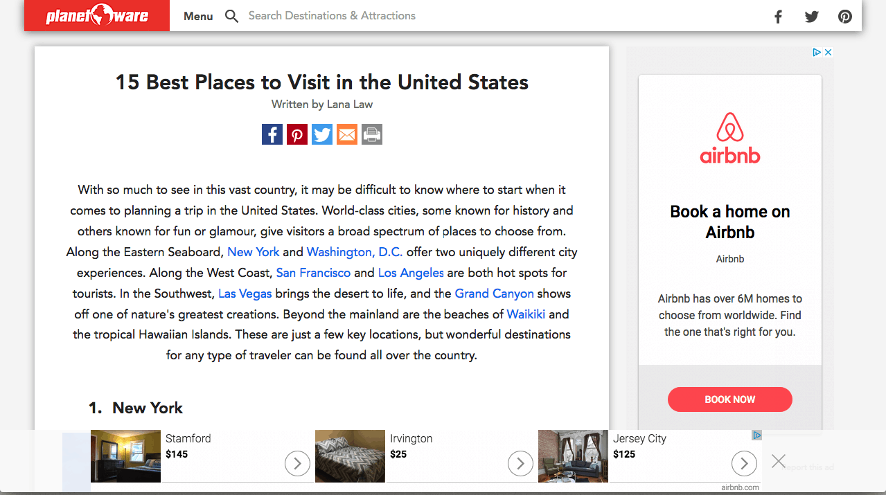 Airbnb Retargeting Ads on a different site