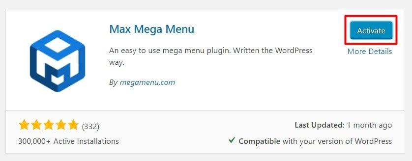 kích hoạt Plugin tạo menu cho WordPress