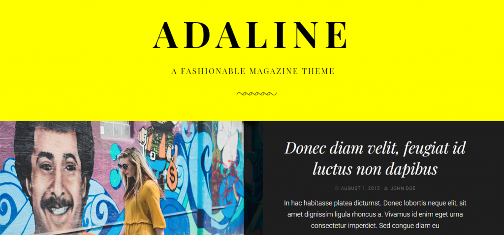 Landing page of Adaline WordPress theme