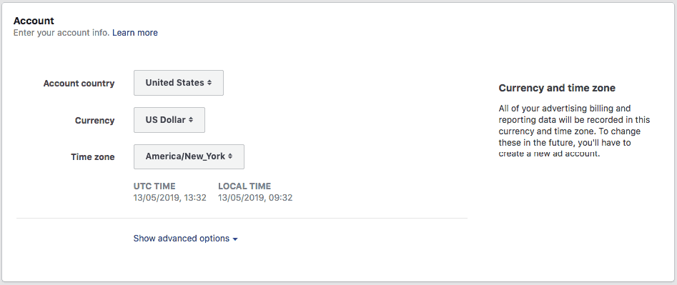 Adding the Account Country and Timezone on Facebook ads