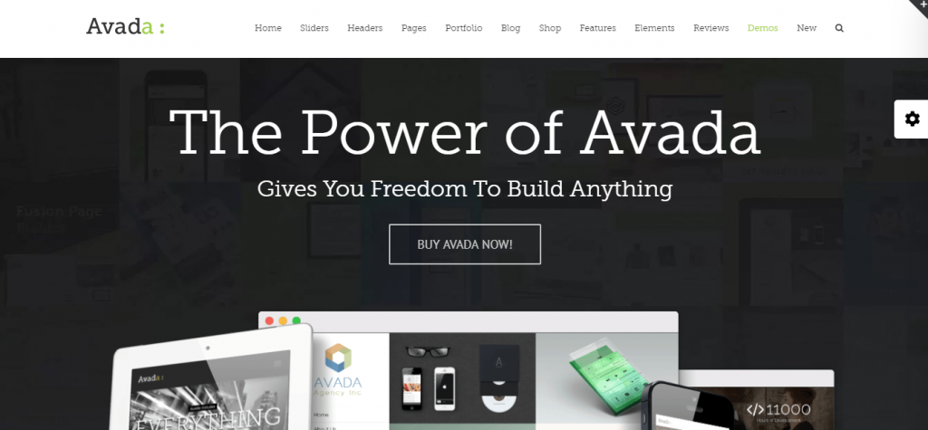 Landing page of Avada WordPress theme