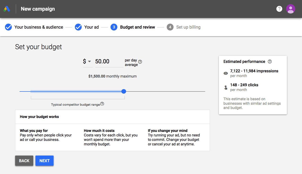 Setting Up the Budget on Google Ads