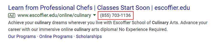 google ad call extension