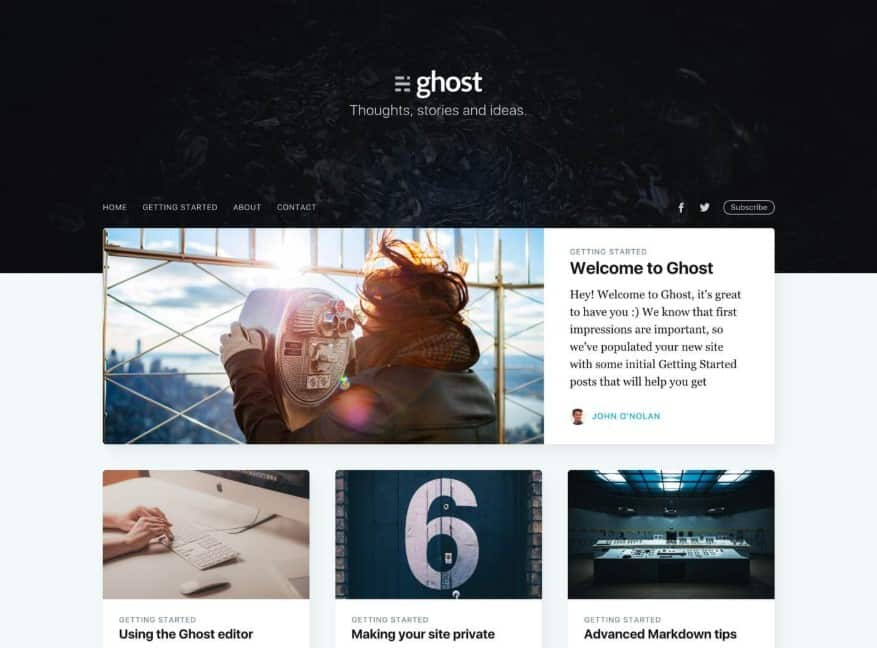 Example of ghost theme Casper