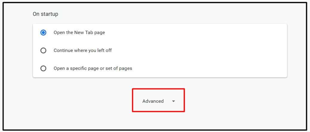 choose the advanced option in chrome settings