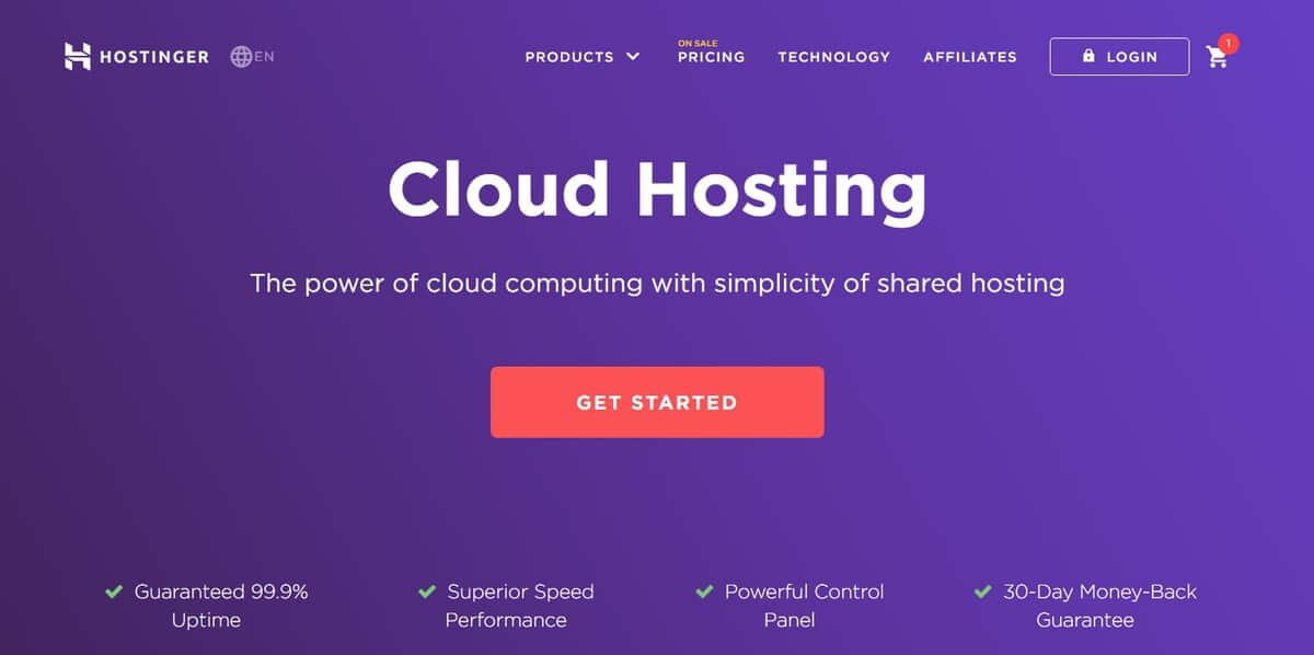 cloud hosting on Hostinger is one of the best hosting service you can find today