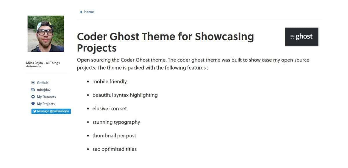 Example of ghost theme Coder