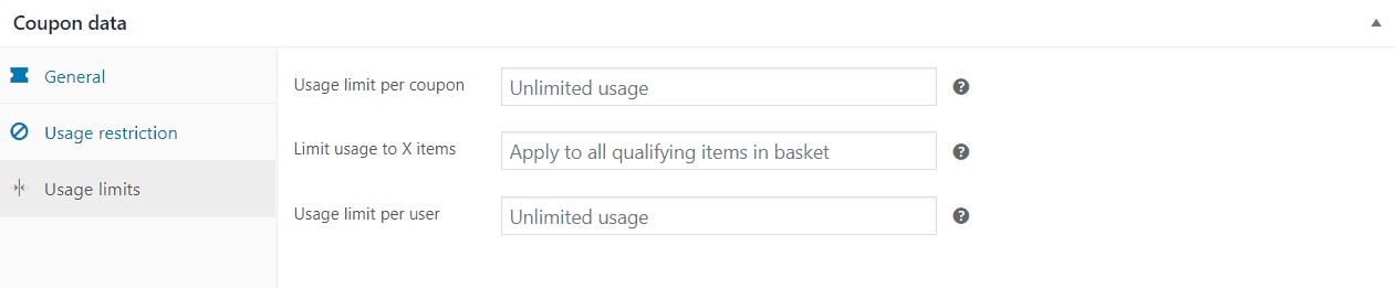 Coupon data usage limits box