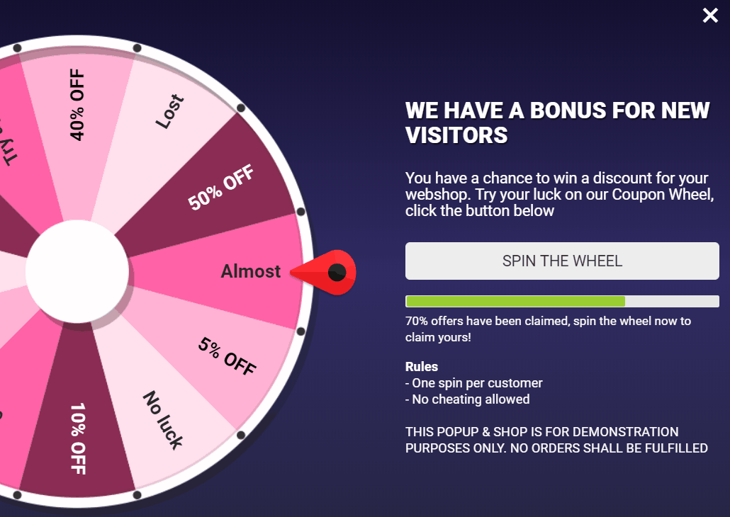 Coupon wheel woocommerce