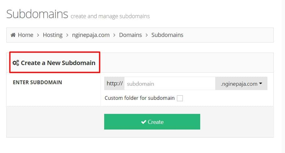 "make sure that you are on ""create a new subdomain"" page"