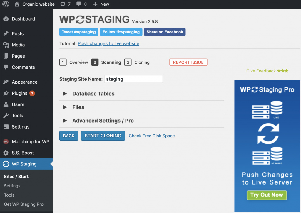 create a staging site using WP Staging