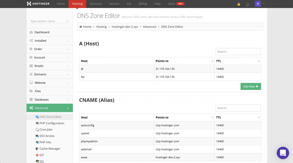 dns zone editor on hostinger's hpanel
