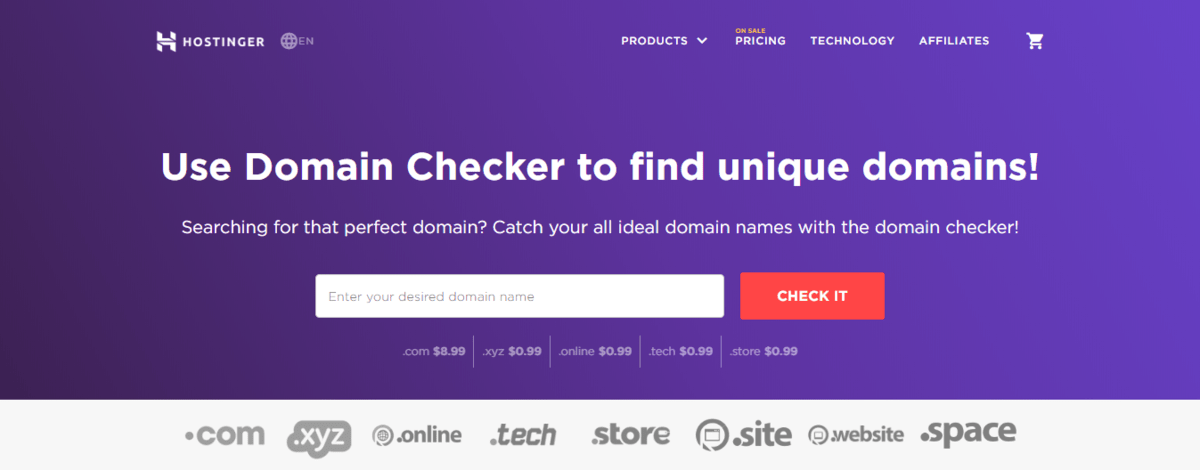 Hostinger domain checker page to find what is TLD that suits your site