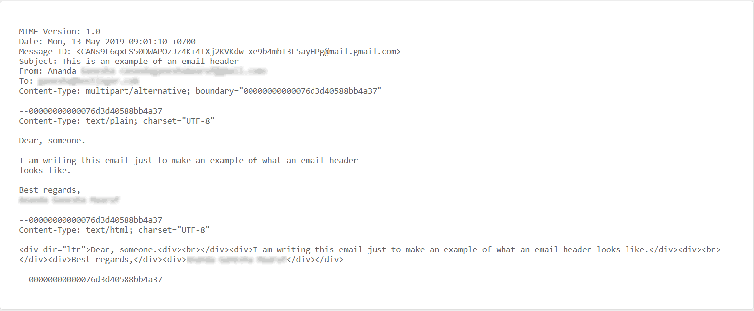An example of email header