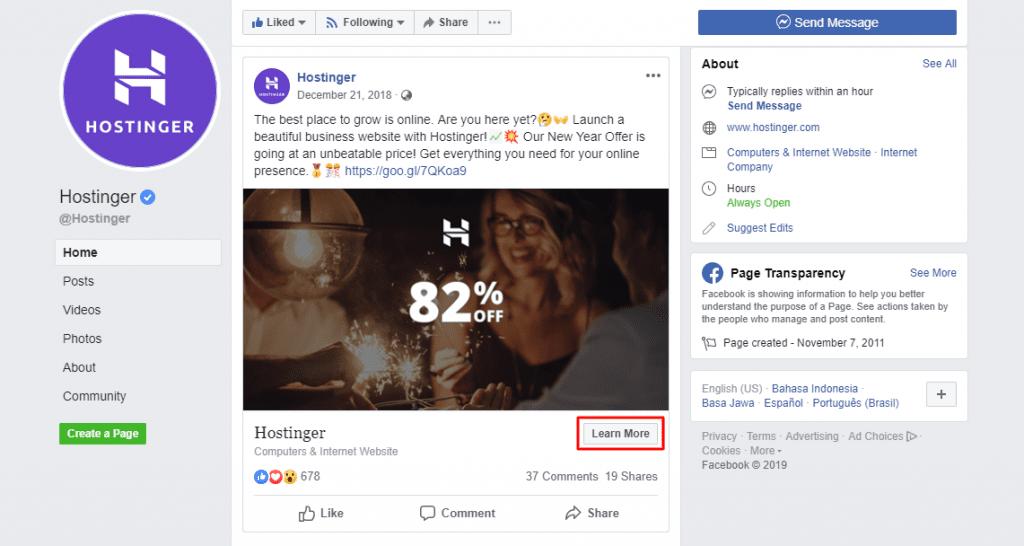 hostinger's special offer facebook post