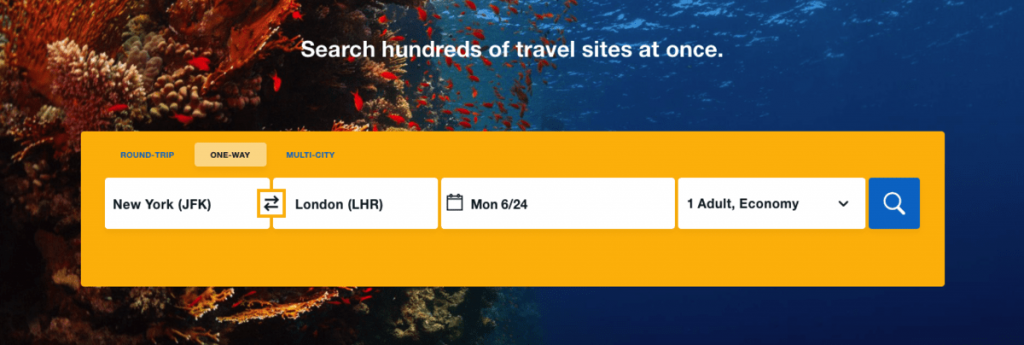 searching flights option