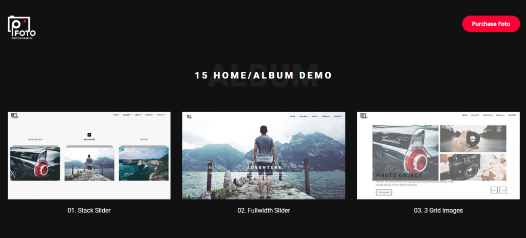 Landing page of Foto WordPress theme