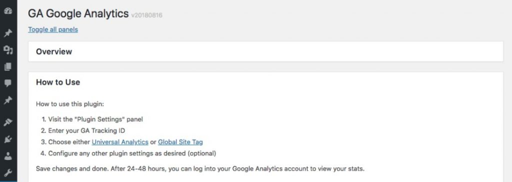 GA Google Analytics interface