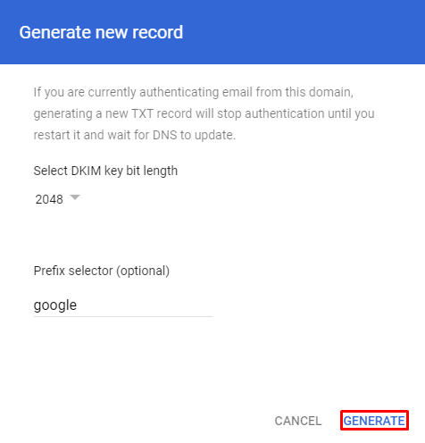 Screenshot showcasing the Generate button