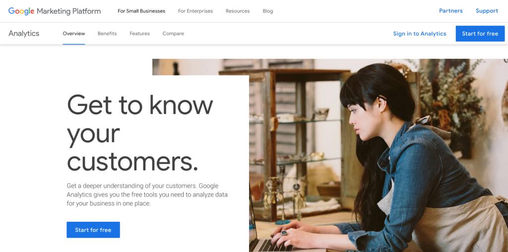 Screenshot Showing Google Analytics