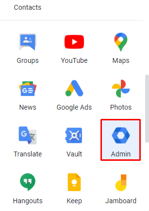 Screenshot showcasing the Admin button in Google Workspace