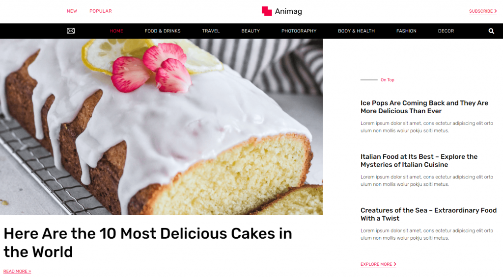 Screenshot of Hello Elementor WordPress theme
