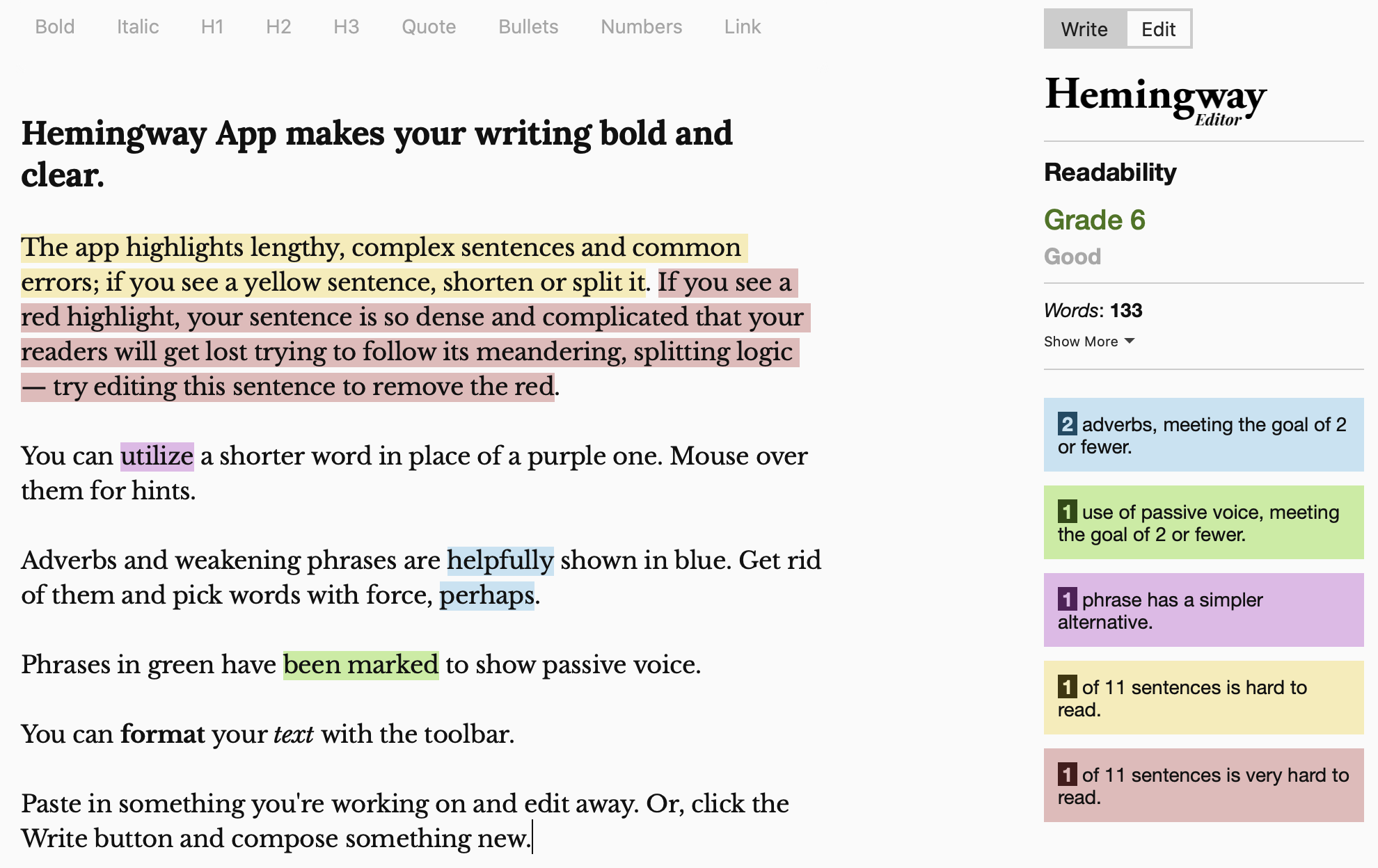 Hemingway app for making your writing concise
