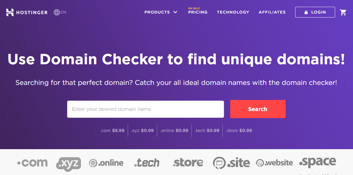 Hostinger Domain Checker Homepage