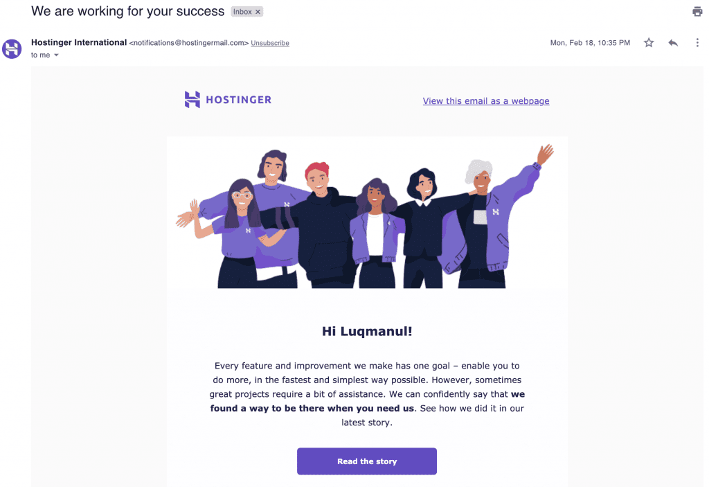 Hostinger's email marketing newsletter