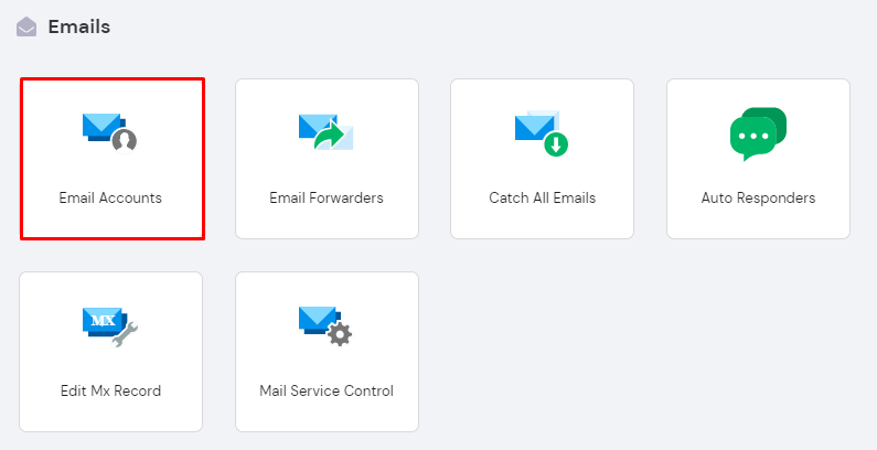 Screenshot showcasing the email accounts button in hPanel