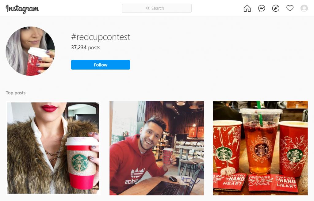 Instagram displaying Starbucks's #redcupcontest