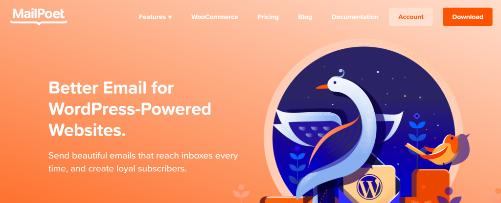 MailPoet landing page stating, better email for wordpress-powered websites