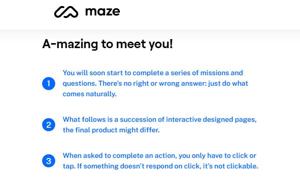 maze website usability test